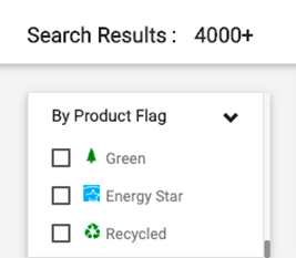 Screenshot from UGAmart showing a list of checkbox items: Green, Energy Star, and Recycled