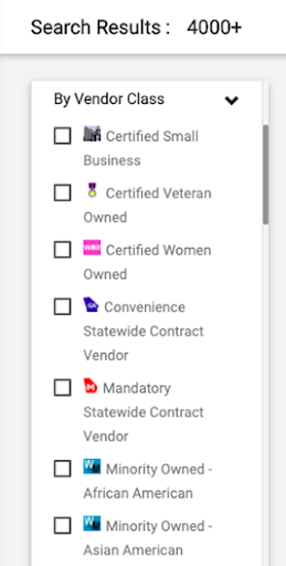 Screenshot from UGAmart showing a list of checkbox items that includes: Certified Small Busines, Certified Veteran Owned, Certified Women Owned, Minority Owned - African American, and Minority Owned - Asian American