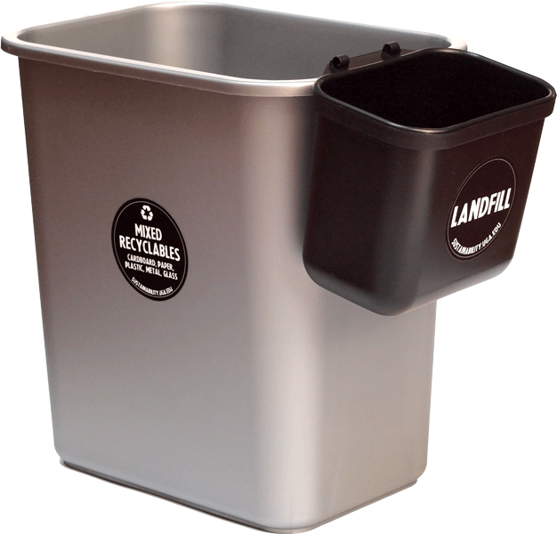"A gray waste bin labeled ""Mixed Recycling"" with a smaller, black side-saddle bin labeled ""Landfill"""
